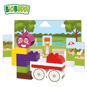 BiOBUDDi - Pram and Character - Eco Friendly Block Set - 27 Blocks